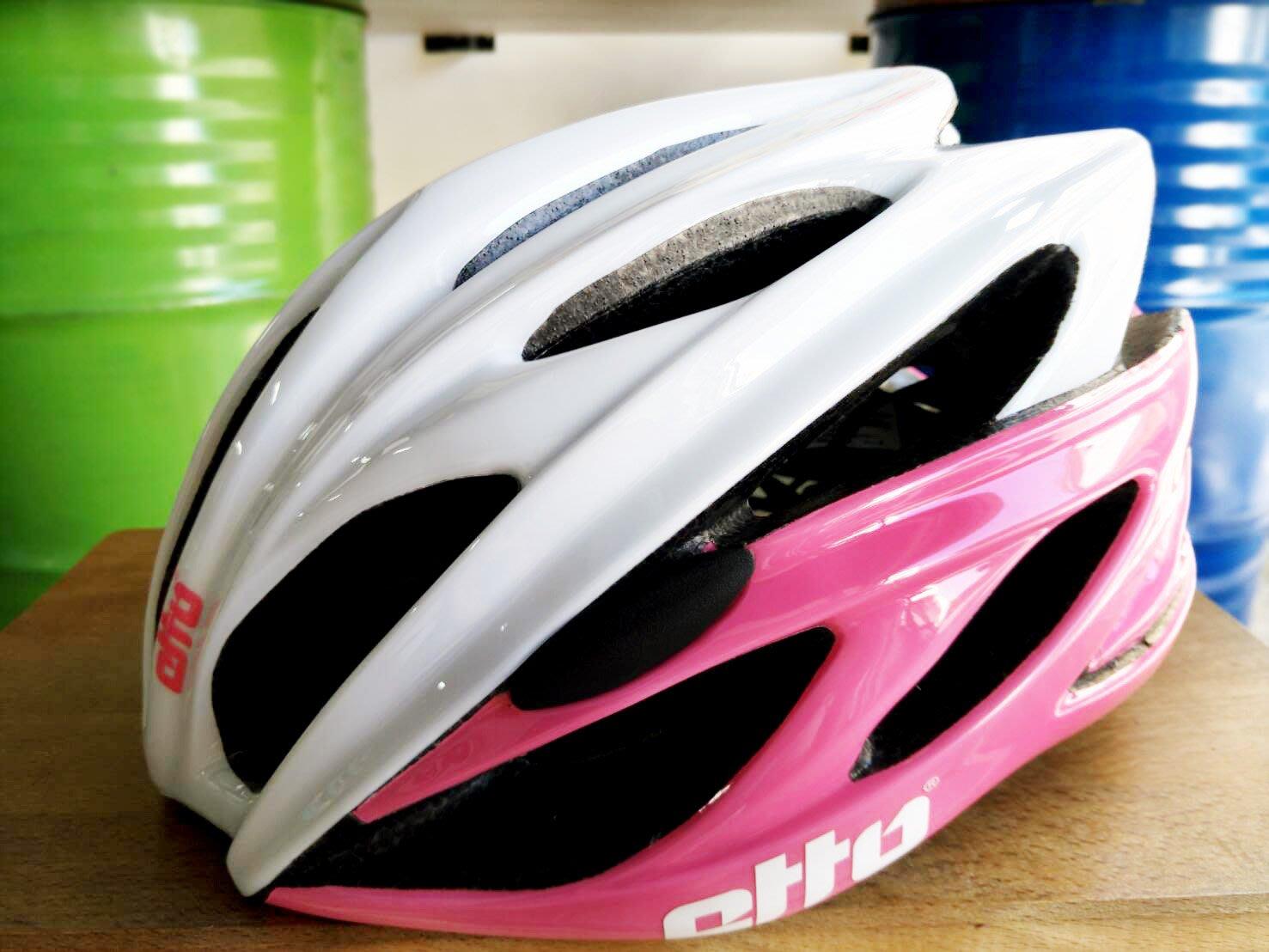~騎車趣~挪威 ETTO X6 自行車磁扣安全帽 白粉色 車帽 頭盔 贈舒士安全帽清潔噴劑