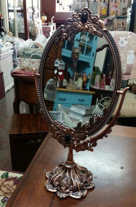 美生活館--全新 鄉村古典ZAKKA 立體 玫瑰花 韓式 雙面 紅金色 桌上鏡 化妝鏡 可調鏡 新娘鏡 店面 居家-大款