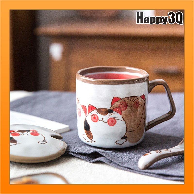 手繪風貓咪馬克杯塗鴉馬克杯小盤點心盤陶瓷湯匙泡茶具陶瓷杯-三件套【AAA4356】
