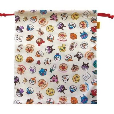 尼德斯Nydus 日本正版 嬰兒用品 麵包超人 細菌人 小病毒 外出用 束口袋  綿100% 日本製 約29cm
