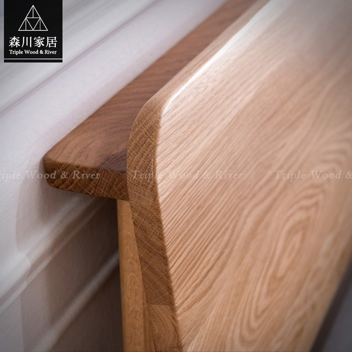 《森川家居》NBB-39BB09-北歐白橡木原木插座功能五呎床架 臥室床墊房間實木民宿/收納設計/LOFT品東西IKEA