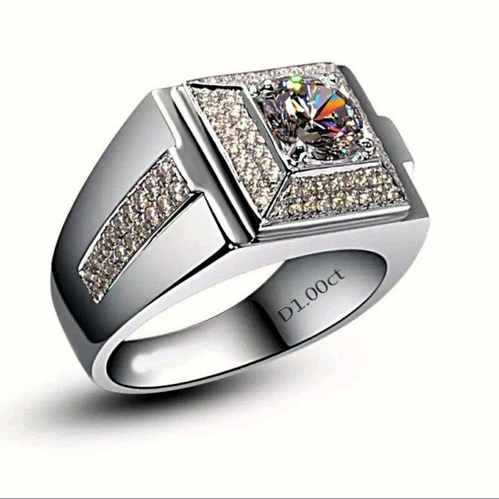 鑽戒100粒碎鑽微鑲鑽戒925純銀鍍鉑金指環 鑲嵌高碳鑽1克拉男士戒指 精工寬版高碳仿真鑽石  FOREVER鑽寶
