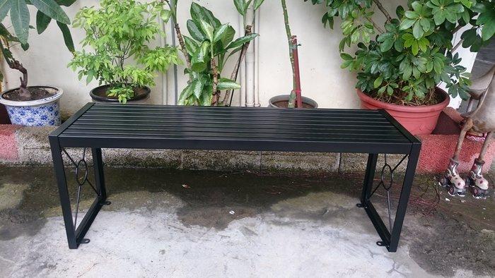 [兄弟牌戶外休閒傢俱] 無背鐵製烤漆雙人長椅L120*W34*H45,可鎖地,鐵烤漆門口騎樓公園陽台,堅固耐用。