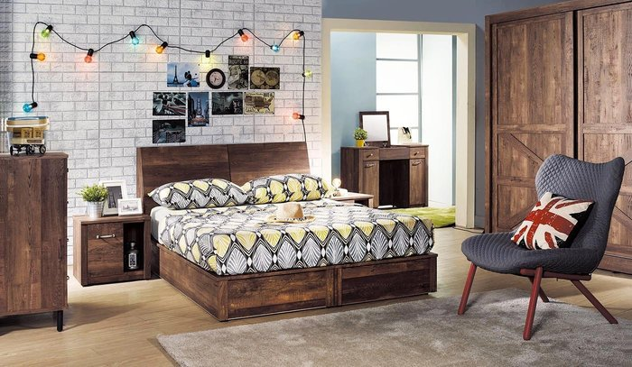【DH】貨號D32名稱《班克》工業風5尺床頭箱型床台(圖一)床頭附插座+六分木心板四抽式床底.主要地區免運費