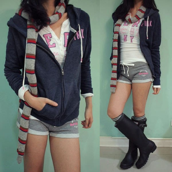 美國休閒品牌 Victoria's Secret 女生款棉質刷毛連帽外套 (深藍新款上市.特價出售)