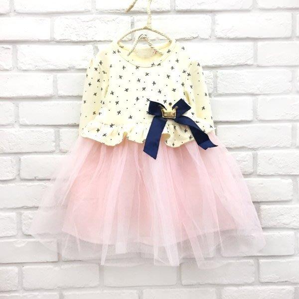 【班比納精品童裝】上滿版蝴蝶結皇冠緞帶拼接紗蓬裙-黃粉