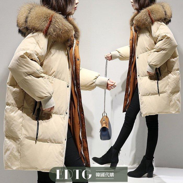 【  EDTG  】NEW奢華三色拼色真毛領白鴨絨羽絨外套大衣斗篷型禦寒黑色/米黃色/焦糖色!預購