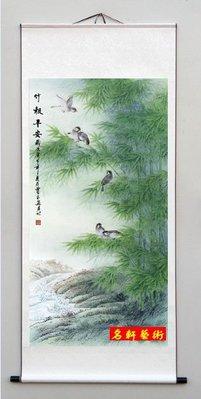 『名軒藝術』 國畫字畫 花鳥畫 風水畫 山水畫 牡丹裝飾畫(竹報平安)已裱卷軸可直接懸掛