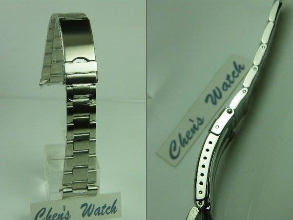 錶帶屋 22mm 24mm 彎頭不銹鋼安全扣錶帶 三板拉銀絲面實心鋼帶 現貨商品