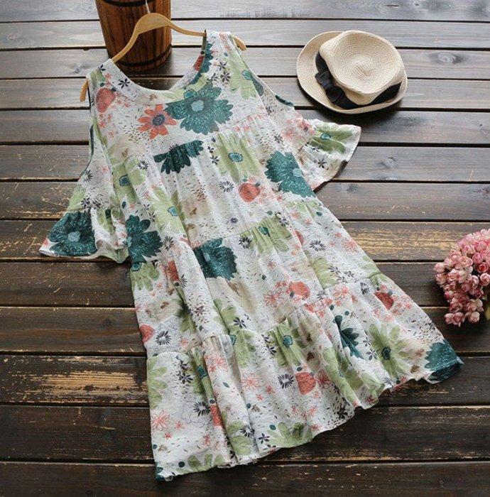 *TOMA*Y092 日系風格可愛舒適 加大尺碼 彩色花朵滿版卡通印花 荷葉邊露肩短袖 圓領蛋糕裙 棉質洋裝*二色