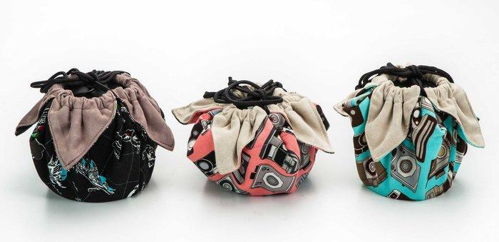 呈現攝影-手作 超細纖維包布束口袋 小號 30x30cm 大開口 保護袋 鏡頭袋 清潔布 相機袋 微單