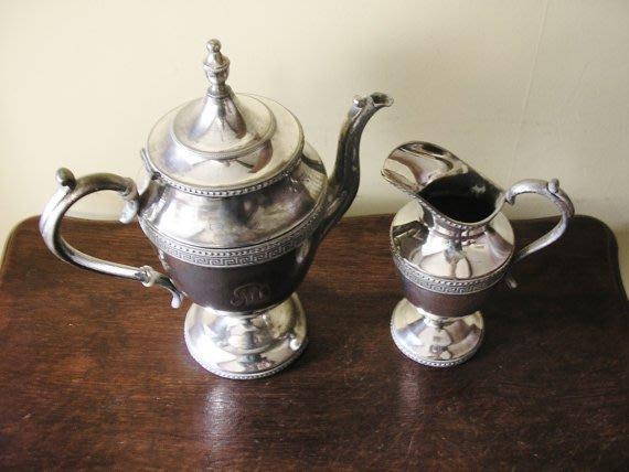 89英國鍍銀茶壺組Vintage Victorian tea coffee pot & milk jug creamer