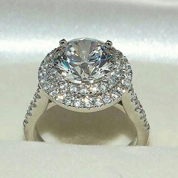 雙環微鑲結婚鑽戒高碳鑽女款2克拉適合莫桑鑽大品牌款式設計 精工爪鑲結婚 訂婚可訂做k金 純銀鍍鉑金  FOREVER鑽寶