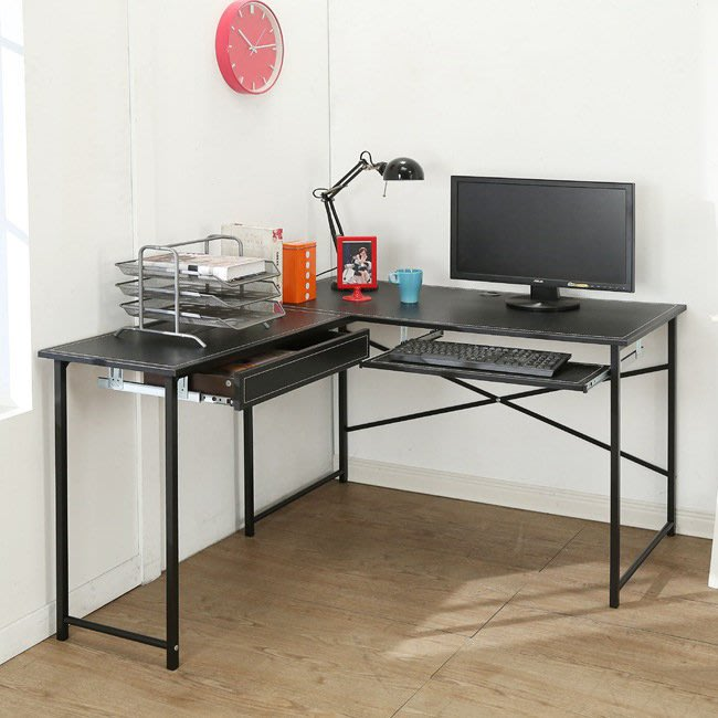 客廳 書房【居家大師】仿古馬鞍皮面L型附鍵盤抽屜工作桌 B-Y-DE016-K-DR 電腦桌 辦公桌 書桌