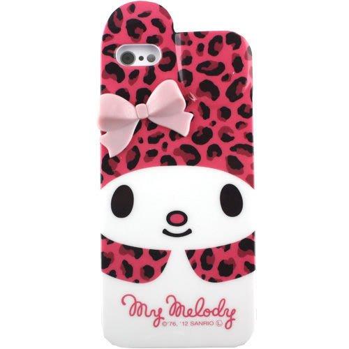 尼德斯Nydus~* 日本正版 Melody 美樂蒂 軟殼 手機殼 iphone5 5S 立體蝴蝶結 -粉紅豹紋