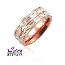 雙排方晶時尚 玫瑰鋼 戒指 情人節 生日 送禮物 威世登時尚珠寶