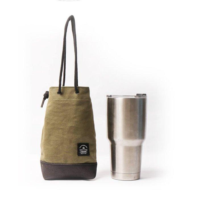 點子包【icleaXbag】飲料提袋 簡約飲料隨行袋 手搖 小物袋 小酒袋 無塑 可刻字 軍綠色 DG31