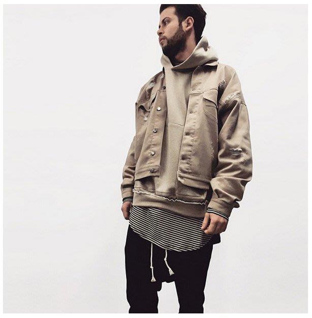「駝色破壞牛仔夾克」預購 杏色 單寧 外套 街頭 時尚 OVERSIZED GENTLEPACE