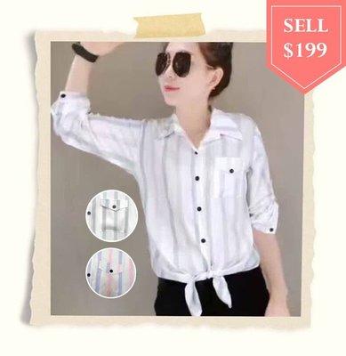 【棉花糖衣櫃】韓版前可綁帶線條長袖襯衫《9801》藍條、粉條。滿499免運