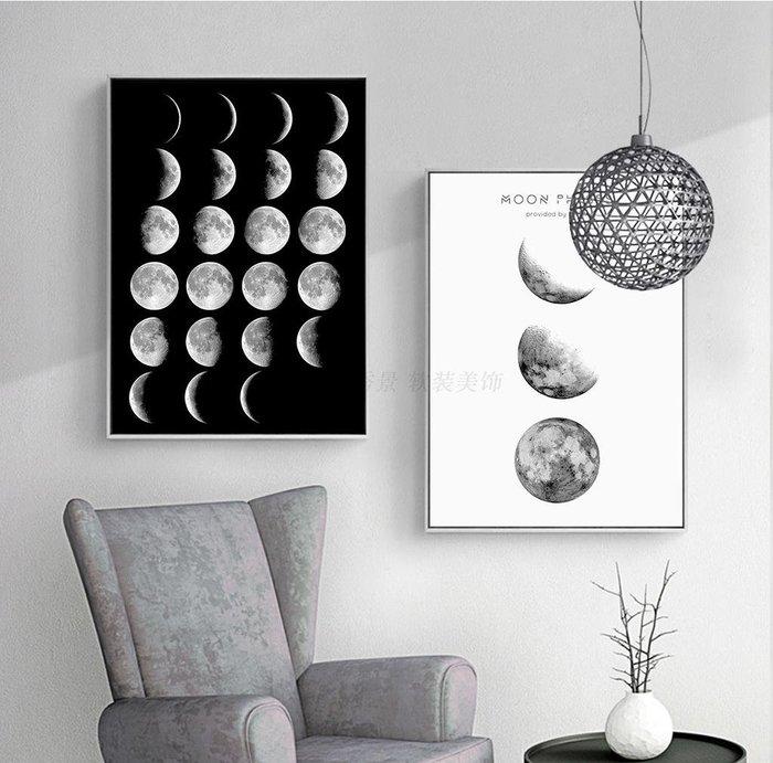 ins現代簡約北歐月亮倒影裝飾畫畫芯客廳餐廳掛畫(5款可選)
