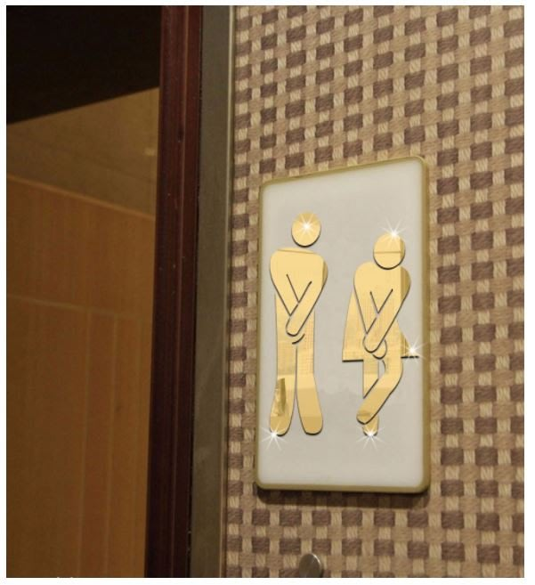3D立體洗手間男女鏡面牆貼 創意diy廁所衛生間標識牌壓克力洗手間標誌牆貼.男女人物廁所壓克力壁貼.鏡面貼