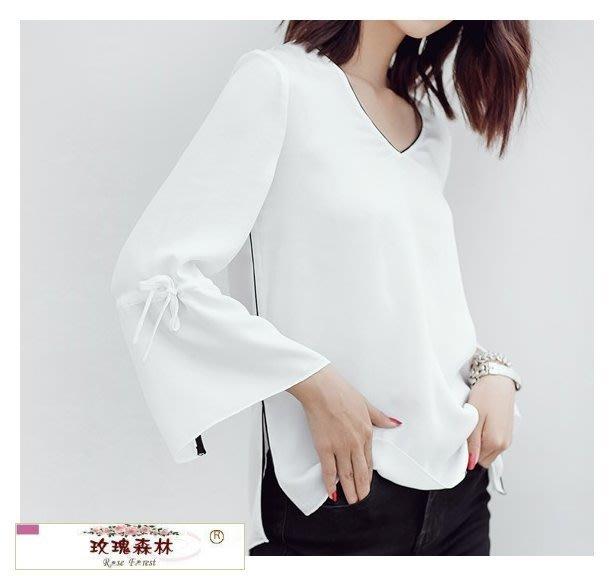 玫瑰森林-- ☆°*美麗嚴選~ 時尚優雅風 V領滾邊黑白配色七分袖絲緞雪紡上衣 (特價出清)