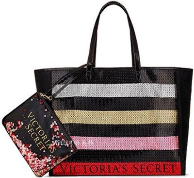哈美族 victoria's secret 維多利亞的秘密 17年秋冬限量款 大尺寸 亮片拖特袋/側背手提沙灘包+手腕包