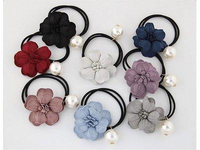 802 韓國直送-布藝花朵珍珠髮束 (黑色/白色/天藍/紅色/灰色/粉色/深藍/紫色)