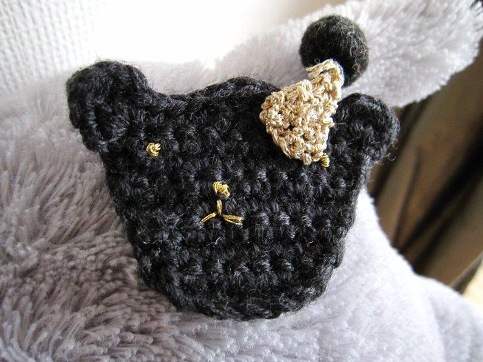 韓國毛線編織熊熊髮夾
