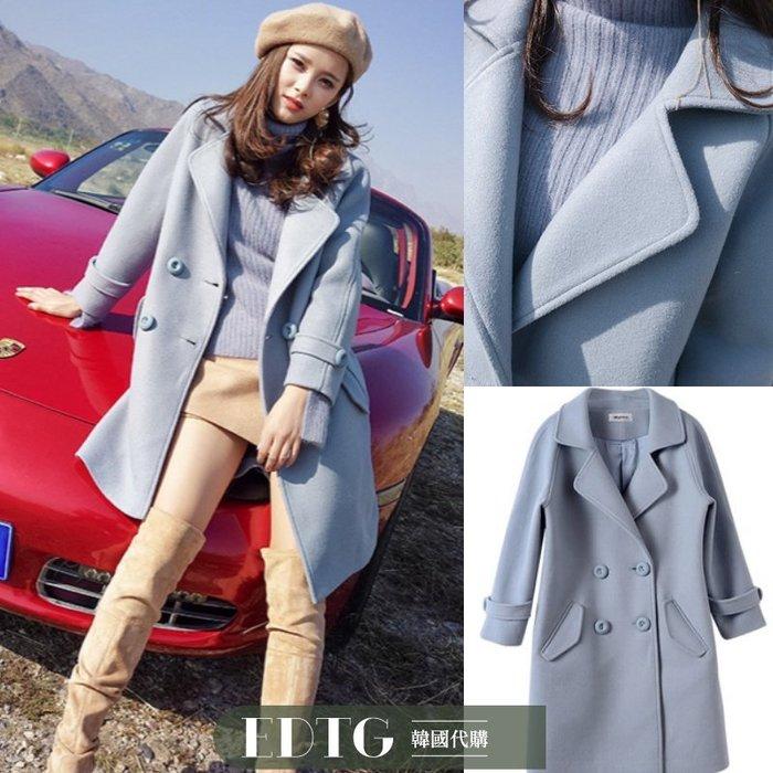 【  EDTG  】推薦!NEW黃金比例小個子羊毛呢外套大衣禦寒煙灰藍!預購