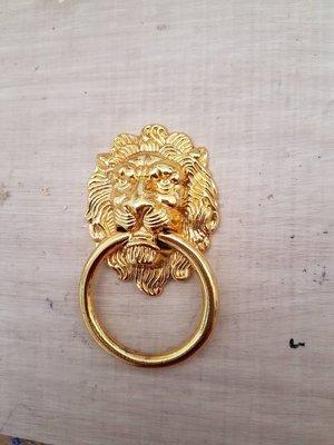 ((DIY~我的裝潢家把手))室內設計裝潢門神/仿古把手中式/獅子頭金色把手