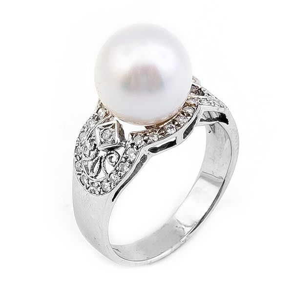 【JHT金宏總珠寶/GIA鑽石專賣】10mm天然珍珠鑽戒/材質:14K(PP00022)