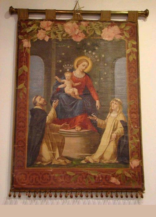 【波賽頓-歐洲古董拍賣】歐洲/西洋古董 意大利古董 19世紀 聖母瑪利亞手繪油畫壁毯/掛毯(尺寸:103x130公分)(已售出)