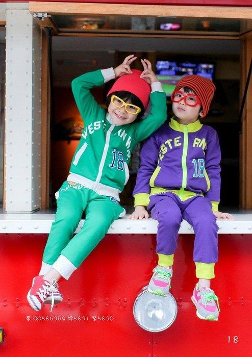 【班比納精品童裝】18拉鍊褲套裝-綠