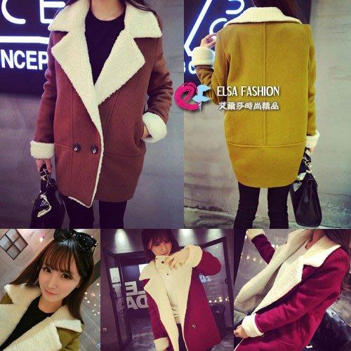 羊毛外套 艾爾莎 時尚大翻領羔羊毛絨呢大衣外套【TAE1549】