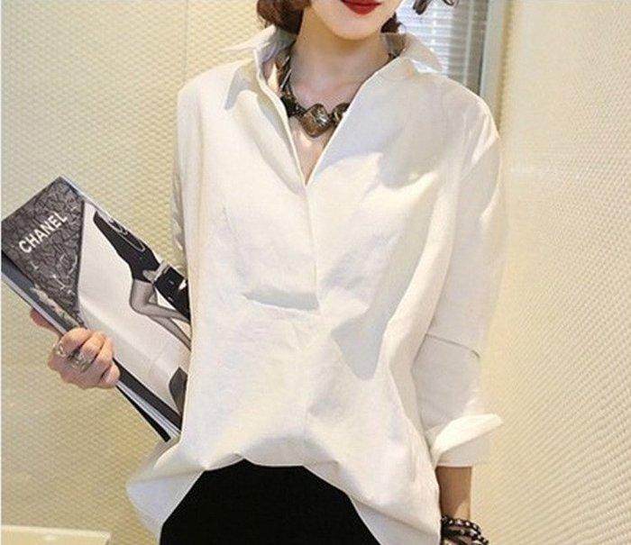 ❤Princess x Shop❤韓版新款白色純棉襯衫女寬鬆百搭中長款長袖大碼露肩正韓國連線【DX623】