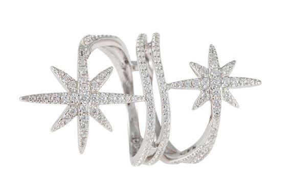 專櫃正品~女神劉詩詩林志玲御用款APM MONACO 時尚魅力鑲晶鑽鋯石雙星環繞戒指