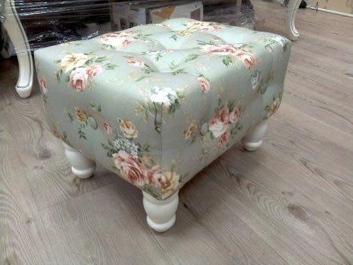 美生活館 --- 全新鄉村風格 白色實木玫瑰花布拉扣 方形沙發矮凳/穿鞋椅/寶貝椅-可訂製