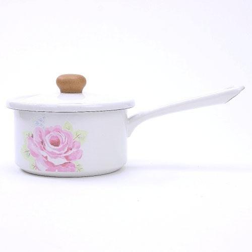 日本優雅玫瑰琺瑯單柄牛奶鍋湯鍋-15CM