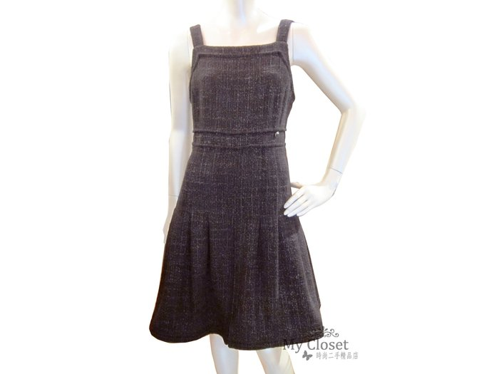 My Closet 二手名牌 CHANEL 2012秋冬 灰黑x紫色軟呢肩帶洋裝