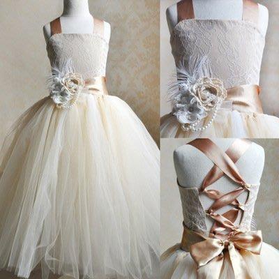 【Kathie Shop】兒童禮服拍照公主裙歐美女童tutu裙花童表演服澎澎裙
