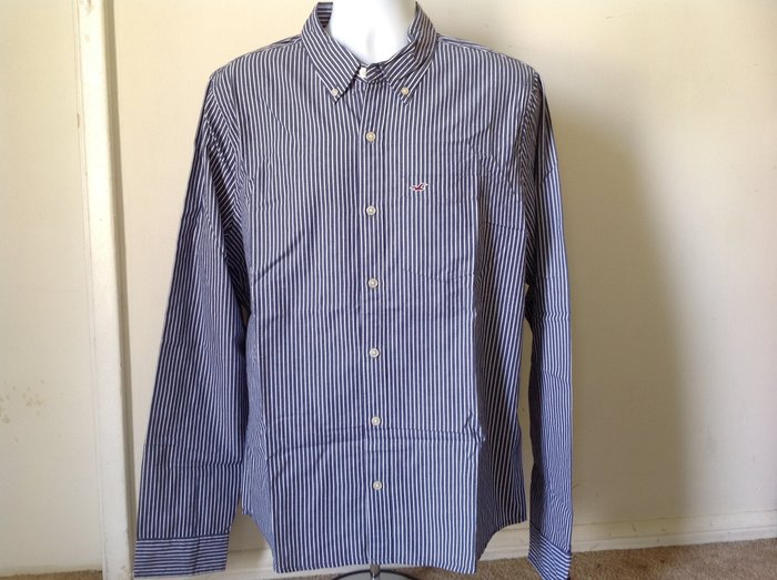 【天普小棧】HOLLISTER HCO Striped Shirt長袖條紋襯衫深藍條紋XL號 現貨抵台