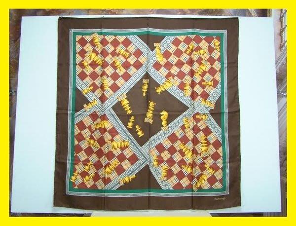 精品大師-BURBERRYS-西洋棋圖案大絲巾/市價12000-近全新真品