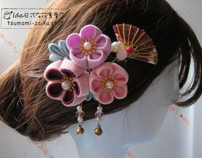 日式布花 和風布花 和服髮飾 cosplay 和服 浴衣髮飾 粉紫3花髮夾 扇子組T303