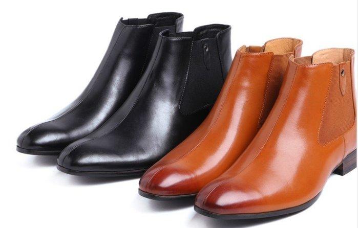 新款英倫商務正裝皮靴 秋冬牛皮套筒尖頭男靴 真皮職業皮靴潮正品:完美