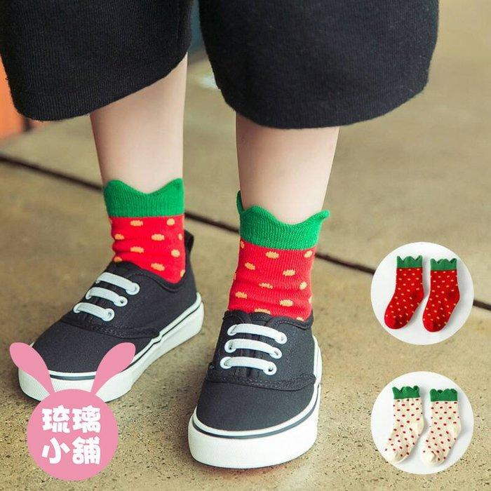 《琉璃的雜貨小舖》韓國外貿原單 草莓造型 寶寶襪 兒童襪