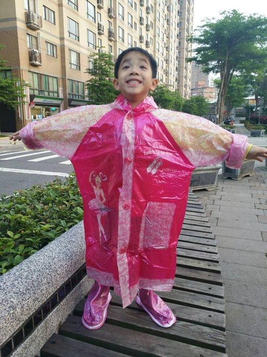 北鼻❤ 彩色娃娃╭兒童卡通圖案雨衣~最新款有充氣帽檐適合長途或大雨直直下(珠光色芭比)