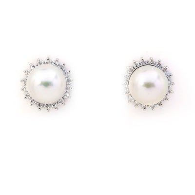 JHT金宏總珠寶/GIA鑽石專賣】8mm天然珍珠鑽石耳環/材質:PT900(JB35-B23)