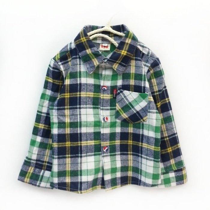 【班比納精品童裝】磨毛格子襯衫-綠