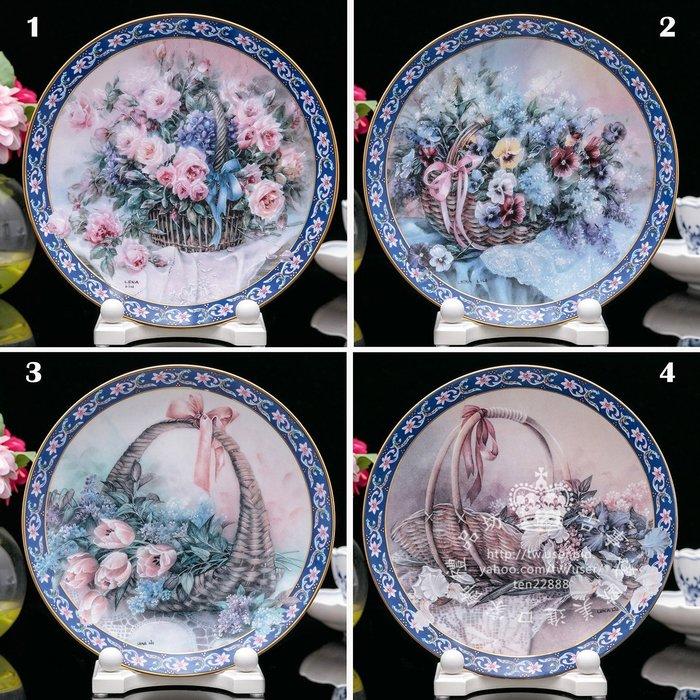 【吉事達】美國W S George 藝術家 Lena  Liu 1992繁花似錦限量花卉收藏瓷盤(玫瑰  三色紫羅蘭)